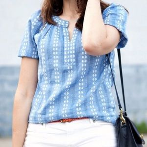 Loft Chambray Blue Embroidered Top